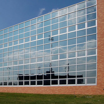 Invisible Design Aluminium Glass Curtain Wall with Awning